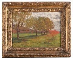Landscape with Trees - Oil on Cardboard by Alberto Zardo