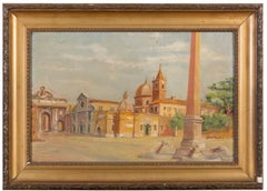 Piazza del Popolo, Rome - Oil on Canvased Cardboard - Early 20th Century