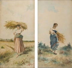 Farmers with Bundle of Spikes - Pair of Watercolors on Paper - 1892