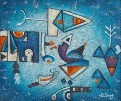 Abstract Composition - Mixed Media on Canvas by Harry Belong - 2000s