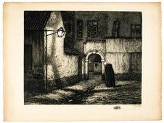 Femme dans la Rue - Original Etching by Alberto Geudens - Early 20th Century