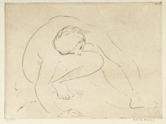 Reclined Nude - Etching and drypoint by Anna Bass - Late 20th Century