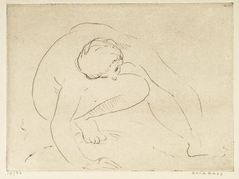 Reclined Nude is an original black and white print realized by Anna Bass (1876–1961) in the second half of the 20th Century.  The artwork depicts a bent nude woman.  Hand-signed by the artist on the lower right margin. Numbered on the lower left.