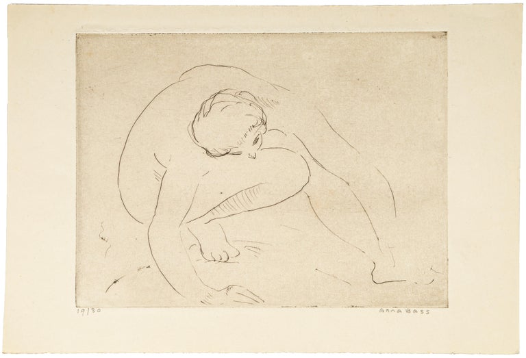 Reclined Nude - Etching and drypoint by Anna Bass - Late 20th Century For Sale 1
