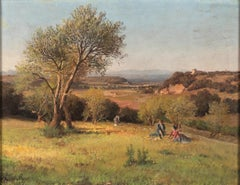 Roman Countryside with three Women - Oil on Canvas by P. Sassi - 1903