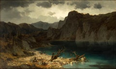 View of the Bergsee - Oil on Canvas by Josef Brunner - Mid 19th Century
