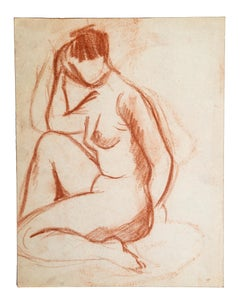 Nudes - Original Sanguine Drawing by French Master Early 20th Century