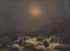 Northern Nocturnal Landscape - Oil on Canvas by J.F. Hesse - Mid 19th Century