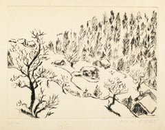 Landscape - Etching and Drypoint by Edmone A. Ades - Mid 20th Century