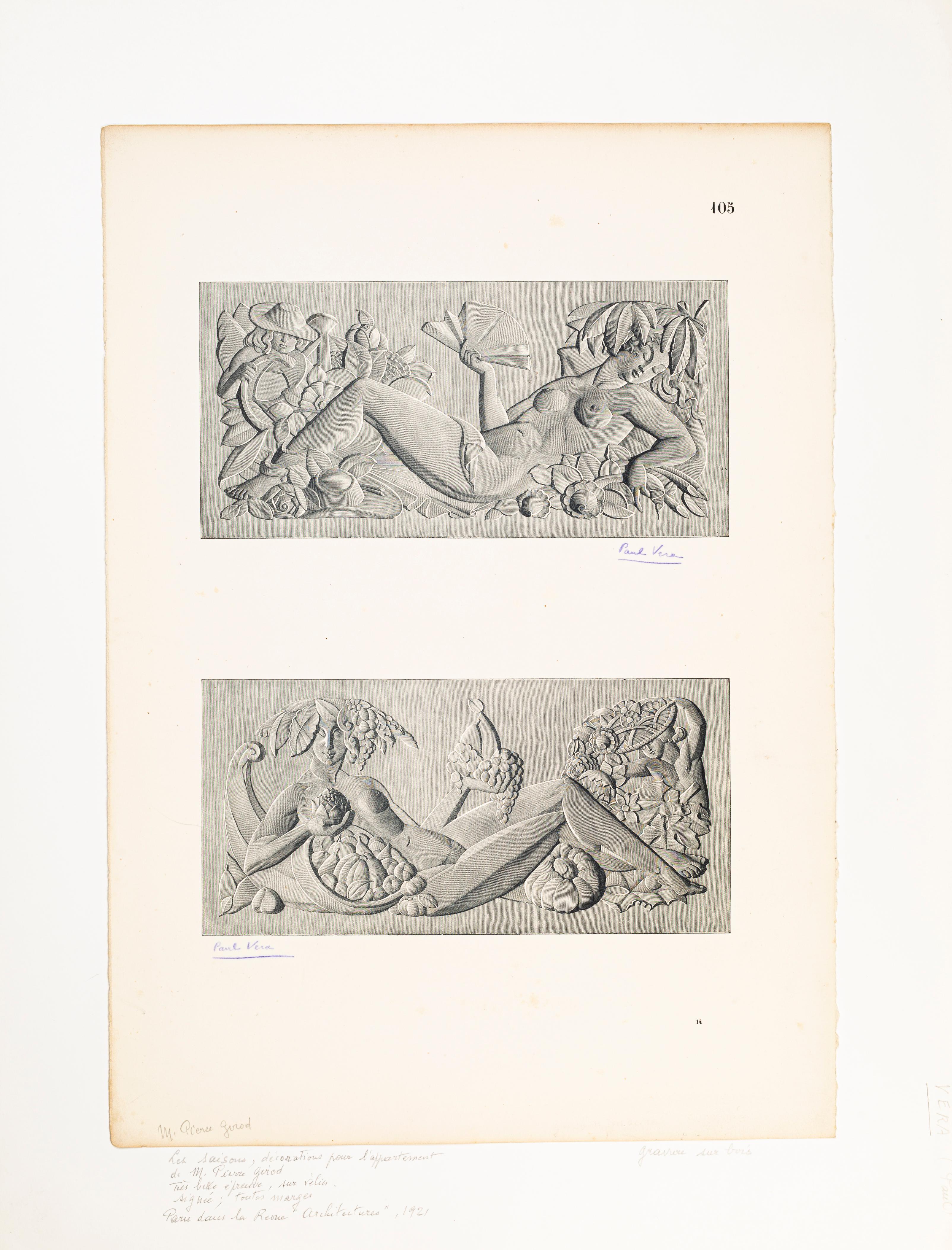 Les Saisons - Original Woodcut by Paul Vera - 1920s