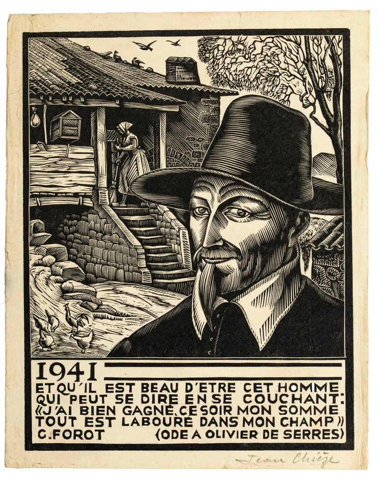 1941 is a black and white xylograph realized by Jean Chieze (1898-1975), in the First Half 20th Century.  The artwork represents the ode of the fourth centenary by Charles Forot to Olivier de Serres. The artwork is illustrated by Jean Chieze.  Good