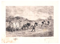 Horse Team - Original Etching by F. Jacque - Late 19th Century