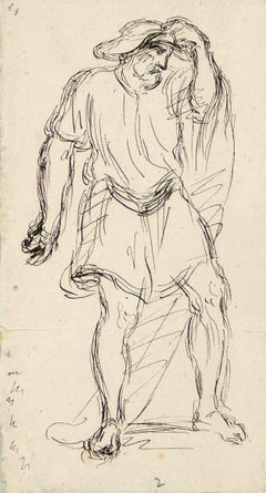 Male Figure - China Ink Drawing by A.-F. Cals - Late 19th Century