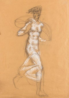 Running Girl - Original Mixed Media on Paper by A. Dazzi - 1950s
