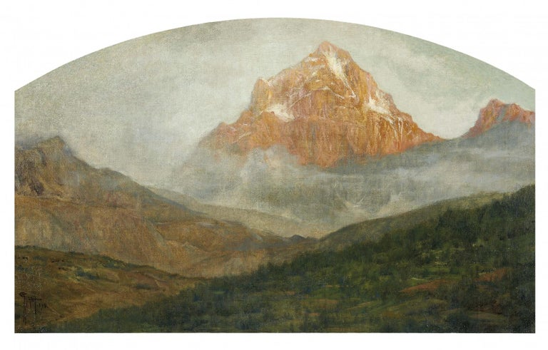 Giovanni Giani Landscape Painting - Mountain Landscape - Original Oil on Canvas by G. Giani - 1911