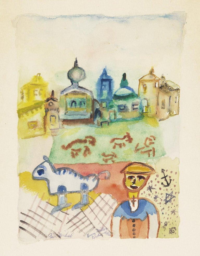 Percha is an original drawing in pencil and watercolor on wove paper, realized by Henry Miller  in  1962, hand-signed and inscribed.  Included a frame.  In very good conditions.  The artwork represents a vivid city with colorful building in the