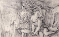 AEnea and Dido - Original Pencil Drawing by Alberto Savinio - 1931