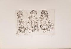 Three Girls Waiting - Original Etching 1873