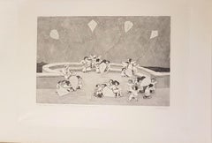 The Kites - Original Woodcut by Alberico Morena - 1960s