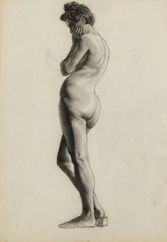 Female Nude - Original Charcoal Drawing by Italian Master mid 20th Century