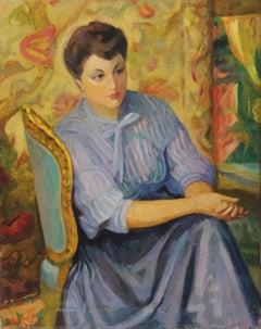 Woman - Original Oil in Canvas by Nino Bertoletti - 1950s