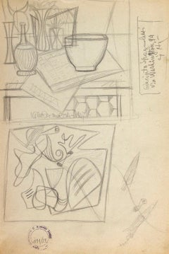 Still Life - Original Pencil Drawing by Atanasio Soldati - 1950s
