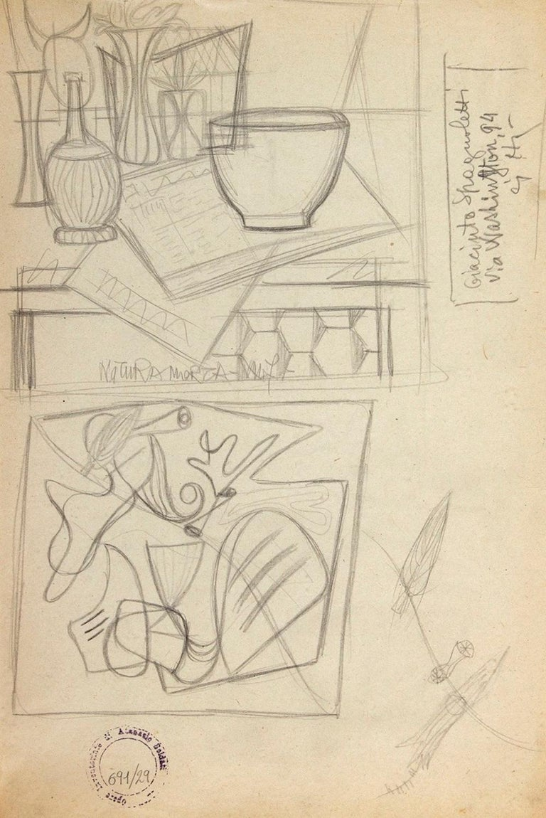Still Life is an original drawing realized by Atanasio Soldati in the 1950s  Pencil on paper.  Stamp and archive lower left: Opere inventario Atanasio Soldati 691/29.  On the back study and some addresses.  Atanasio Soldati (Parma, 24 August 1896 -