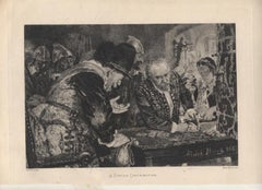 A Forced Contribution - Original Etching by A. Menzel - 1885 ca.