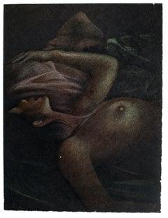 Femme Nue Allongée - Original Lithograph by B. Kelly - 1980s