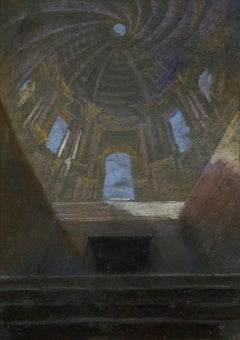Interior of Church - Pastel Drawing by E. Barberis - Mid 20th Century