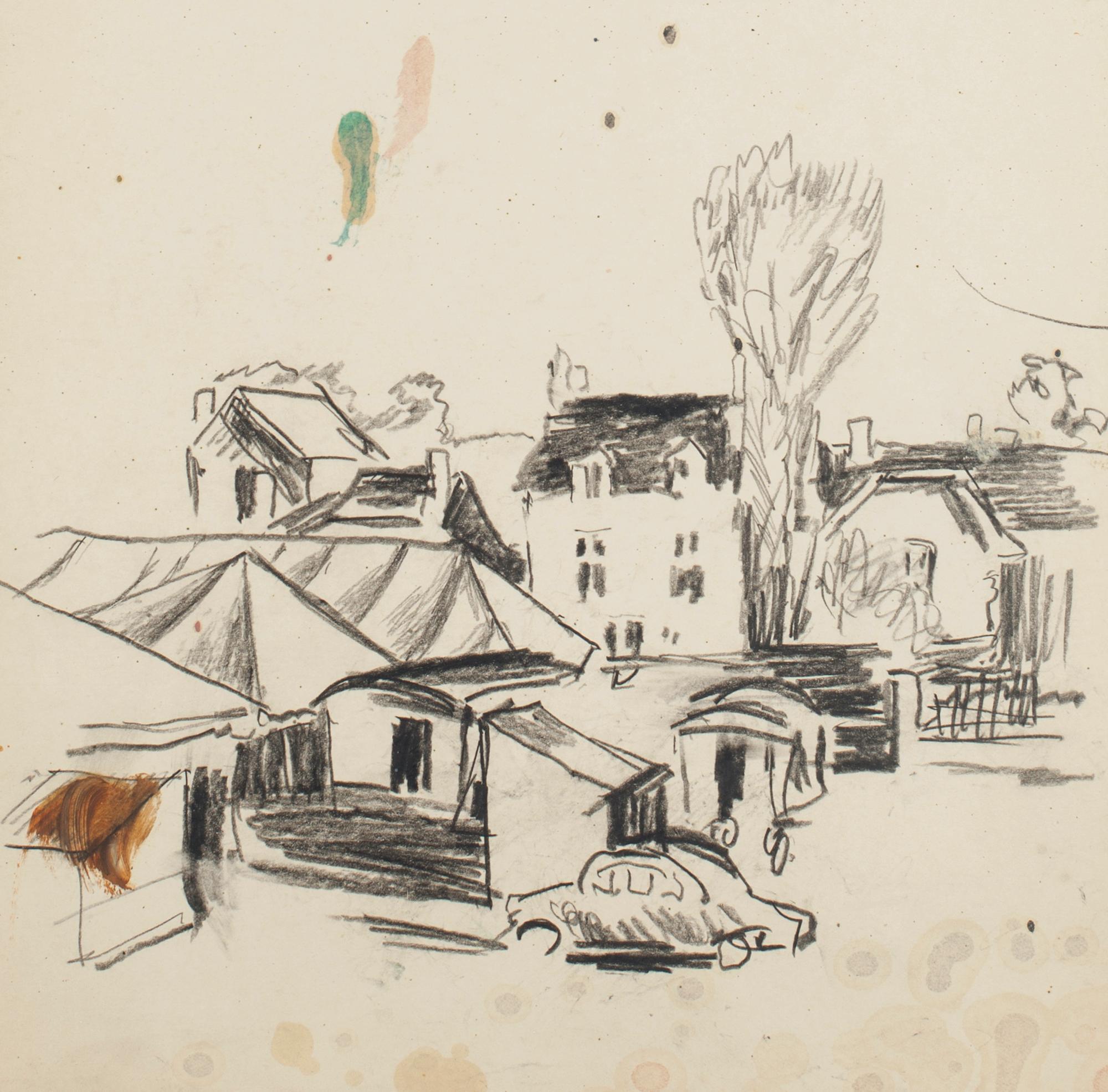 City - Original Mixed Media by N. Czinober - mid 20th Century