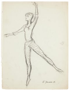 Ballet Dancers - Set of 15 Pencil and Charcoal Drawings by H. Yencesse - 1951