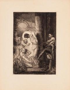 Christ à la Colonne - Original Etching by E. Guillez - 1910