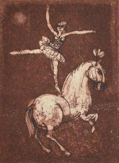 Dancer - Original Colored Etching by Miro Bonaccorsi - 1977