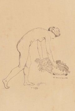 Nude Woman - Original Etching y A.E. Guillez - 1913
