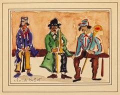 Musicians - Original Watercolor y C. Tabet - Mid 20th Century