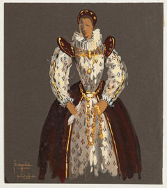 Study for Theatrical Costume - Original Tempera on Cardboard - Late 20th Century