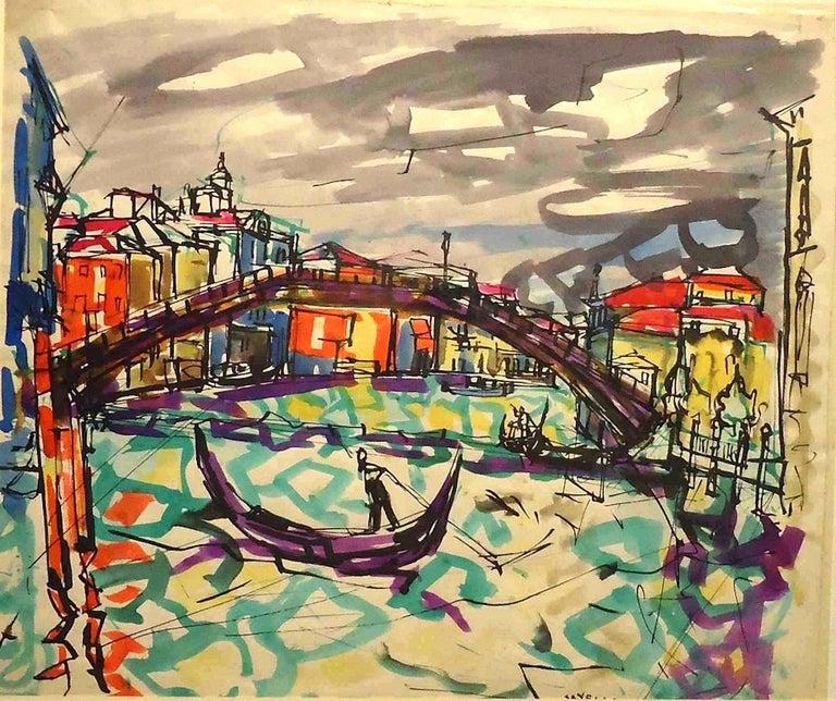 Angelo Savelli Landscape Art - Il Ponte dell'Accademia - Original Pen Marker and Watercolor - 1948