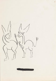 Two Donkeys - China Ink Drawing by Boris Ravitch - Mid 20th Century