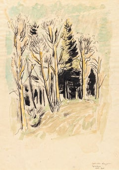 Into the Woods - China Ink and Watercolor by G. Kayser - 1948