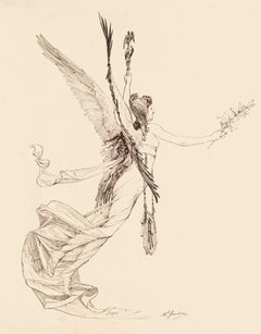The Lily of Peace - Original Pen Drawing by Marcel Jambon - Late 19th Century