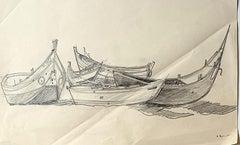 Boats - Original Pencil Drawing - Mid 20th Century