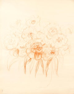 Flowers - Original Pastel Drawing by G. Bourgogne - mid 20th Century