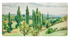 French Landscape - Original Watercolor by P. Deuax - Mid 20th Century