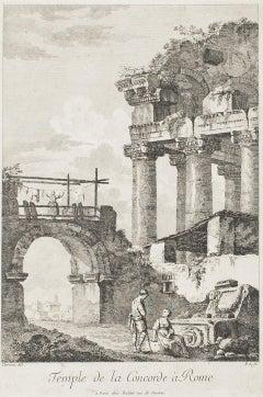 Temple de la Concorde, Rome - Original Etching by C.-L. Clérisseau - Early 1800