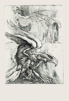Eagles - Original Etching by M. Chirnoaga - Late 20th Century