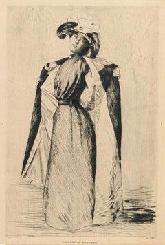 La Dame au Manteau - Original Etching by A.-C. Coppier - 1901