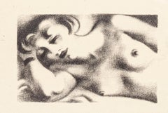 Sleeping Female Nude - Original Lithograph by J.H. Marchand - 1920 ca.