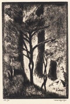 Au Bois de Boulogne - Original Etching by H. Farge - Mid 20th Century