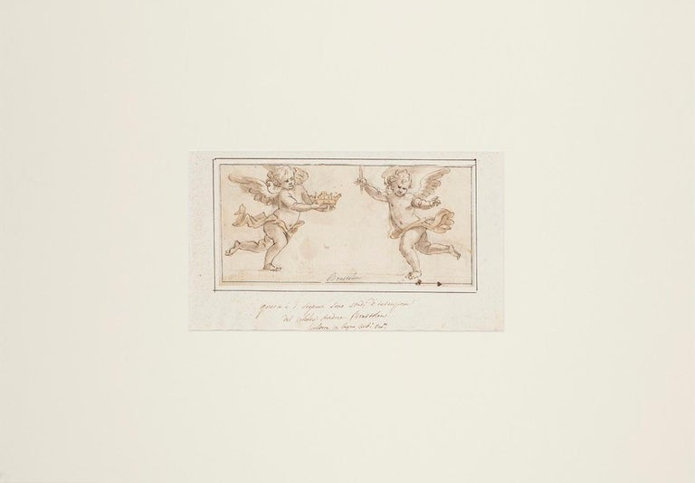 Two Angels - Original Ink and Watercolor Drawing by A. Brustolon - Early 1700 - Art by Andrea Brustolon
